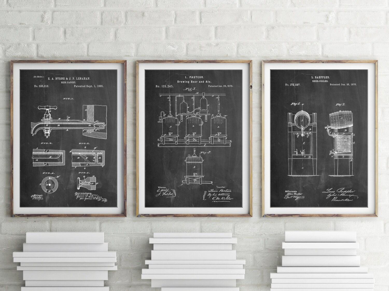 Bier Patent Poster Gruppe von 3 Bar Brüderlichkeit Geschenk