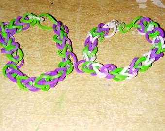 Green Purple and White Bracelet Set of 7