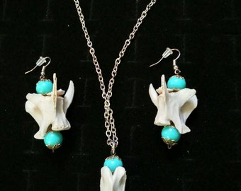 Real Bone necklace and earrings!
