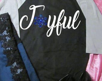 Joyful, Christmas blue sparkly snowflake raglan 3/4 sleeve shirt