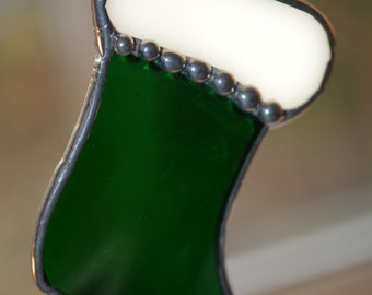 Christmas Stocking (Green) Stained Glass Ornament
