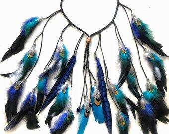 boho tribal festival feather headband