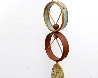 One Of A Kind Small Wall Hanging / Ceramic Wall Ornament / Bohemian Modern Decor / Modern Wall Art / READY TO SHIP