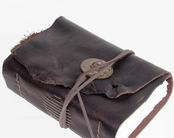 """Handmade Leather Journal, Leather Bound Book, Watercolor Journal, Wedding Gift, Third Anniversary Gift, Wedding Guest Book  6"""" x 7 1/2"""""""