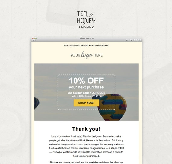 Email Newsletter Template Mailchimp Compatible Coded Coupon