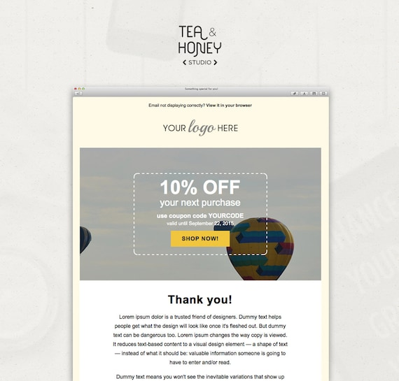 Email Newsletter Template Mailchimp compatible html coded