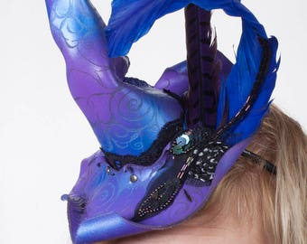Leather Witch Hat | Mini Witch Hat | Witch Hat Fascinator | Purple & Blue | Feathers | Handsewn | Halloween Costume | Samhain | OSFA | OOAK