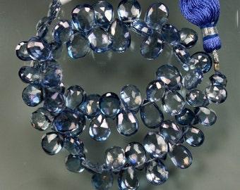 1/2 Strand Tanzanite Mysic Quartz Faceted Pear Briolettes