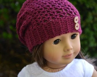 Doll Clothes - Boy or Girl Doll - Doll Beanie for 18 inch - Crocheted Slouch Beanie - Raspberry - MADE TO ORDER - fits American Girl