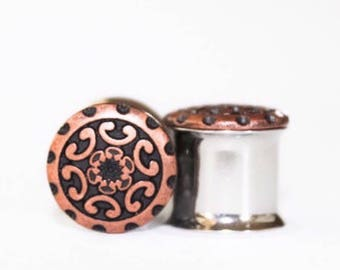 CLEARANCE: Copper Tribal Plugs, gauges   0g, 00g, 7/16, 1/2, 9/16