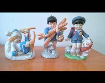 1978 Franklin Mint Porcelain U.N Nations Children Collection Figurines Lot of 3 Sven from Norway, Yvette from France, Taro from Japan