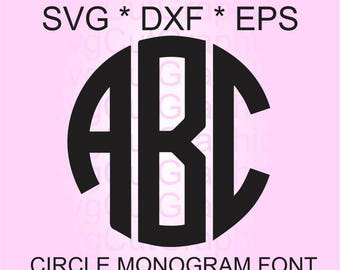 Circle Monogram Svg Alphabet, Svg Monogram Letters, Circle Monogram SVG Font, Cut Files For Cricut, Cut File For Silhouette, Circle Monogram
