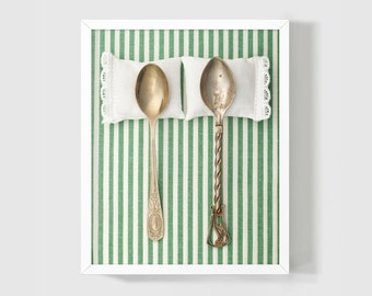 Wedding Gift: Spooning No 6 Fine Art Photography Unique Newlyweds 8x10 Romantic Present, Cottage English Style, Green White Stripes