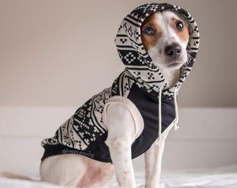 Aztec dog hoodie, Dog clothes, Warm dog hoodie, Dog coat, Black/Creme Aztec Dog Hoodie, Custom tailored dog clothes, All breeds