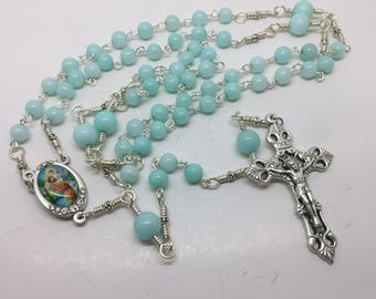 St. Christopher Rosary with Aquamarine Beads