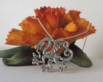 Walking Dragon Necklace Sterling Silver with Chain