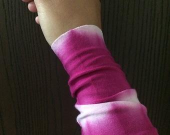 Wrist cuff bracelet, Arm Band, tie dye raspberry fabric cuff bracelet, wrist cover, Tattoo cover up, fabric stretchy bracelet
