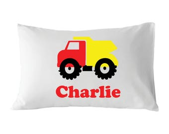 Personalized Pillowcase, Dumptruck Pillowcase, For Kids