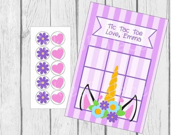 Unicorn Tic-Tac-Toe Game with Candy Stickers Birthday Party Favor Treat Personalized Qty 8 TTT11
