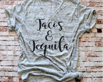 Tacos and Tequila Shirt for Women, tacos tequila T, Funny Taco Tuesday Shirt, taco tequila Tee, Taco shirt for ladies, taco tuesday tee