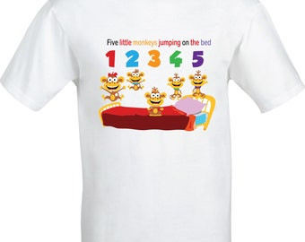 Personalised Five little Monkeys jumping on the bed  full color sublimation t shirt