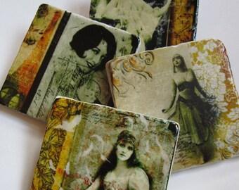 Sepia Dreams - set of 4 coasters on stone tile