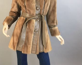 Vintage Fur and Leather Coat// 70s Mink Leather Jacket// Super 70s Groovy Coat (F1)