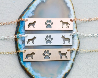 Personalized Pet Bar Jewelry • Rose Gold Pet Bar • Two Dogs •Two Pets Dog Lover Gift Custom Pet Lover Sterling Silver Dog Breed Mother's Day