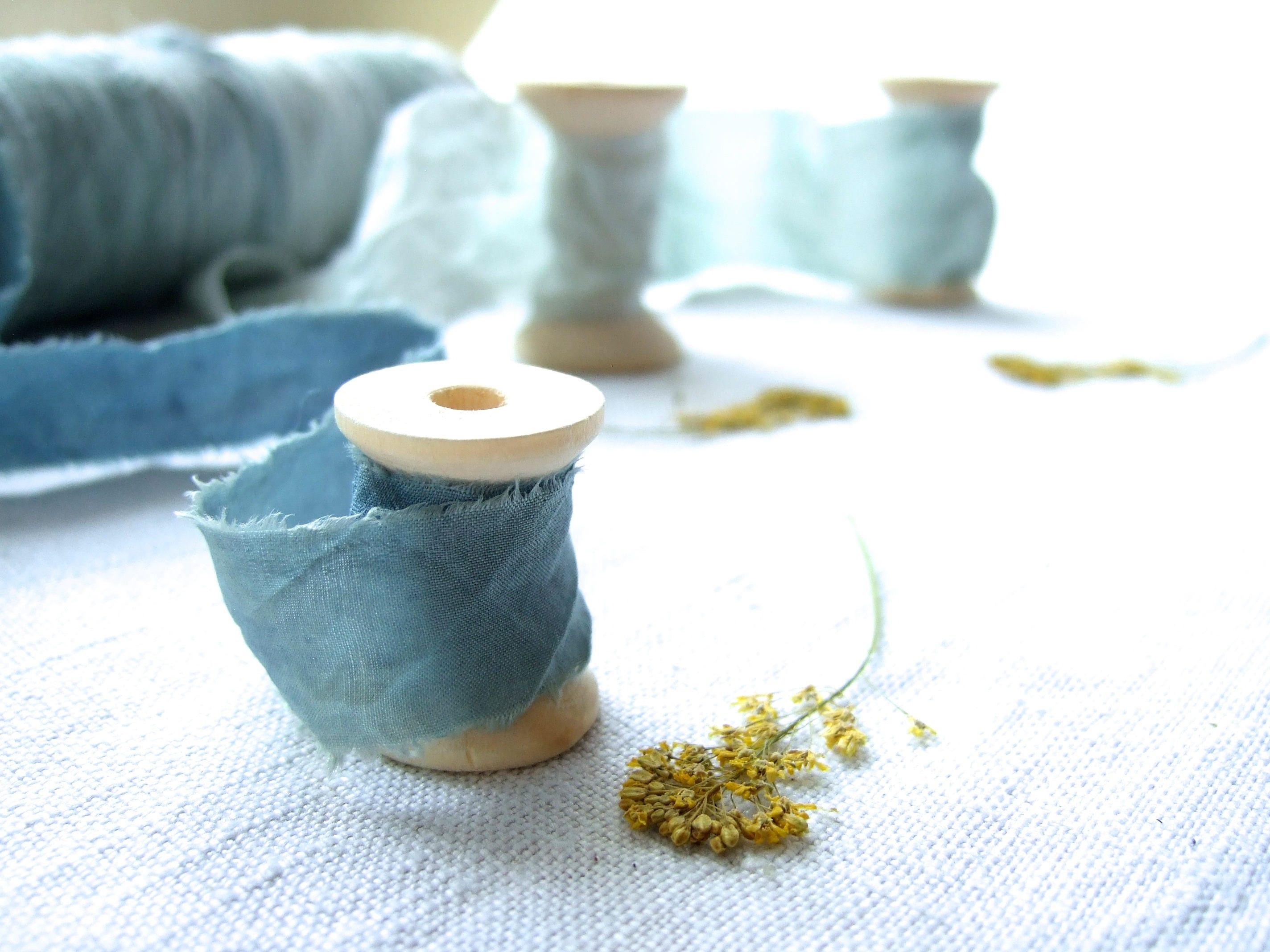 Plant dyed blue silk ribbon, pale turquoise, pastel indigo, raw edge ...