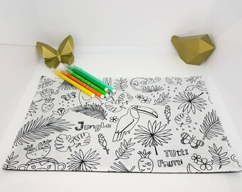 Coloriage lavable zéro déchet thème jungle Format set de table 23 cm par 35 cm