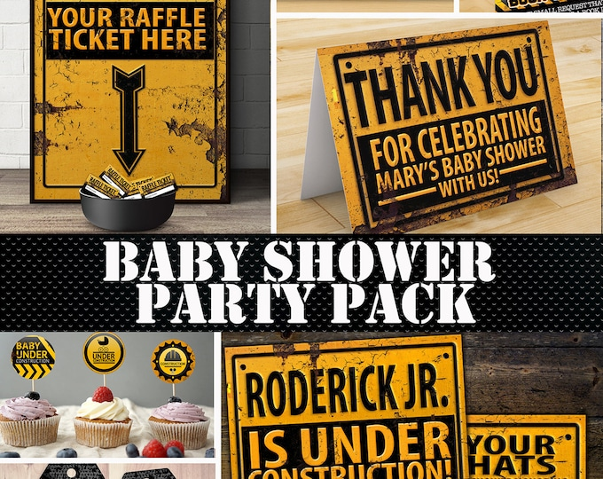 Construction Printable Baby Shower Package - Under Construction Baby Shower set - invitation, raffle sign, , thank you card, raffle ticket