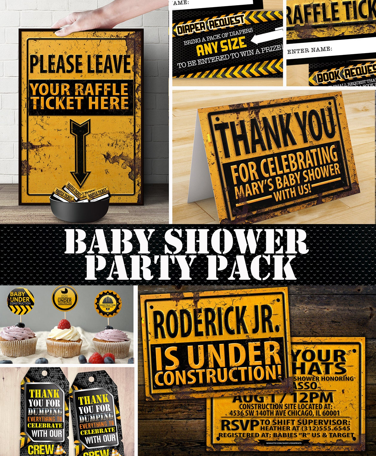 Construction Printable Baby Shower Package - Under Construction Baby ...