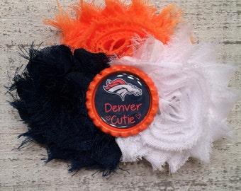 READY TO SHIP Denver Broncos Baby Headband. Broncos Hair Clip. Denver Broncos Flower.