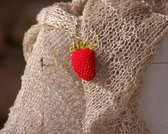 SALE. Limited edition. The strawberry pin +  Hand knitted scarf from natural linen. Ready to ship.