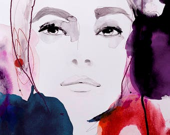 Fashion Illustration Art Print, Portrait, Mixed Media Painting by Leigh Viner - Rouge Noir
