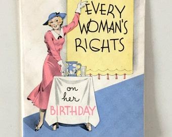 Vintage 1930s Card UNUSED Card Vintage Women's Birthday Card Woman's Rights