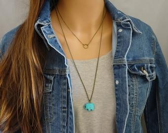 Turquoise Elephant Necklace, Long  Boho Necklace, Simple Bohemian layering necklace, Blue Elephant pendant