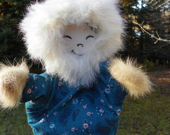 Vintage Eskimo Hand Puppet , Native Inuit Cloth Doll Puppet , Vintage Toy , Vintage Native First Nations , Native Canadian Art , Indigenous