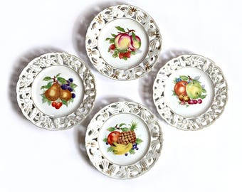 Vintage Fruit Plates, Lattice Edged Fruit Plates, Japan Fruit Plate Set, Decorative Fruit Plates, Pierced Fruit Plates,UCAGCO Ceramics Japan
