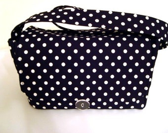 "Large 4"" Size Fabric Coupon Organizer Holder Box- Attaches to your Shopping Cart-Black with White Dots / Michael Miller"