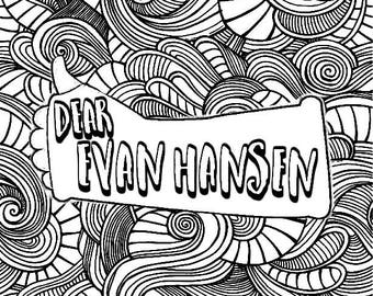 dear evan hansen digital download coloring page musical theatre new york clip art download arm cast printable coloring broadway