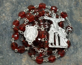 Czech Glass Rosary of Dark Rose with Sacred Heart Center; 5 Decade Rosary; Catholic Rosary; Ornate Rosary with Bead Caps