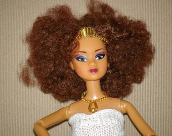 Golden beads jewelry for Barbie -fashion royalty, Monster High ,  handmade in France