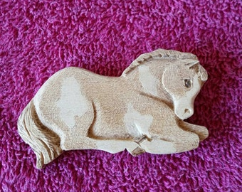 Hand carved bass wood horse magnet