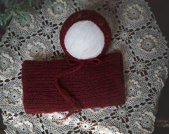 Newborn Mohair Wrap & Bonnet Set * Cranberry * Photo Prop * Newborn Layer * Newborn Bonnet *