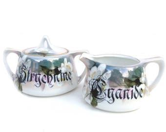 Strychnine and Cyanide Poison Sugar Bowl and Creamer Set