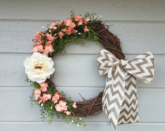 Spring Wreath-Spring Decor-Grapevine Wreath-Orchid Wreath-Front Door Wreath-Summer Wreath-Elegant Wreath-Classic Wreath-Summer Decor