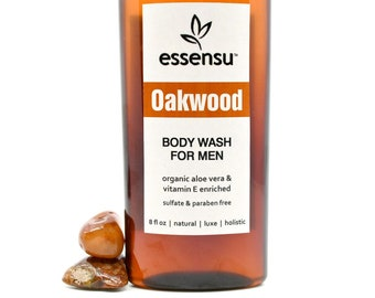 Men's Natural Aloe Vera Vitamin E Herbal Body Wash | Sensitive Skin Formula |  No Sulfate Body Wash | In Oakwood or Maverick | Vegan - 8 oz