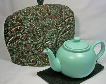 Green Paisley - Quilted Domed Tea Cozy with Trivet