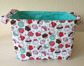 Cupcakes Mini, Fabric Bin, Fabric Organizer, Fabric Basket, Toy Organizer, Home Decor, Nursery Decor, White Aqua Red Pink